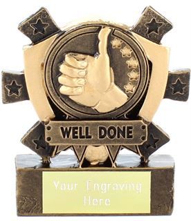 "Well Done Mini Shield Award 8cm (3.25"")"