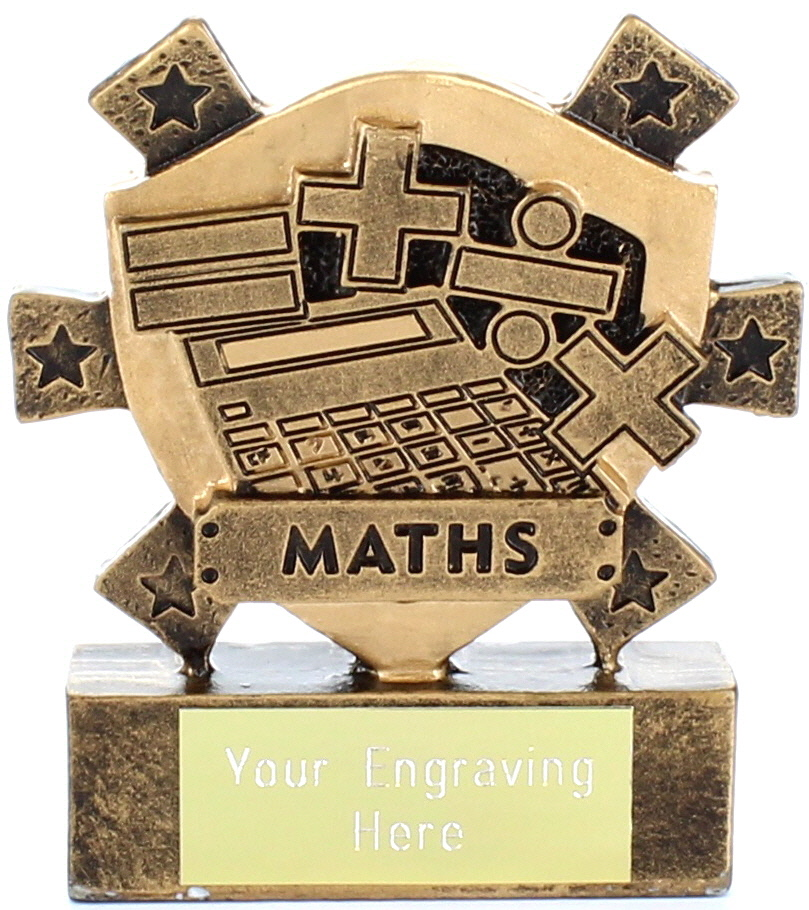 "Maths Mini Shield Award 8cm (3.25"")"