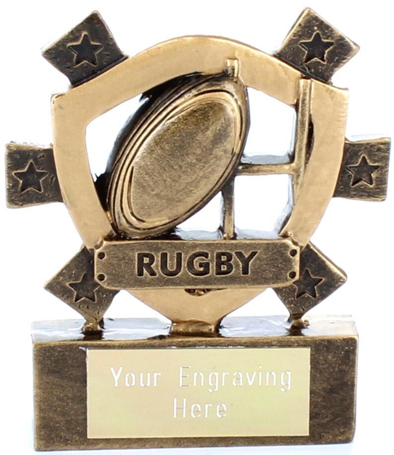 "Rugby Mini Shield Award 8cm (3.25"")"