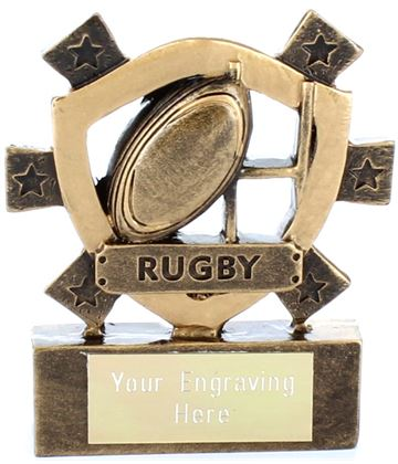 "Rugby Mini Shield Award 8cm (3.25"")"