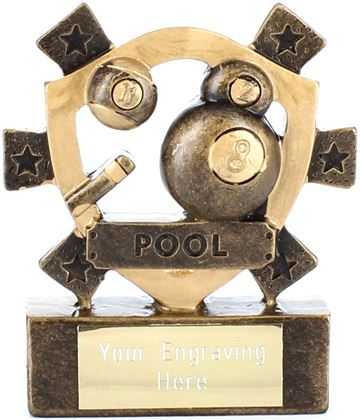 "Pool Mini Shield Award 8cm (3.25"" )"