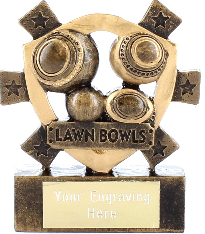 "Lawn Bowls Mini Shield Award 8cm (3.25"")"