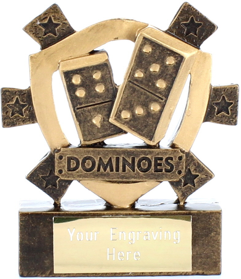 "Dominoes Mini Shield Award 8cm (3.25"")"