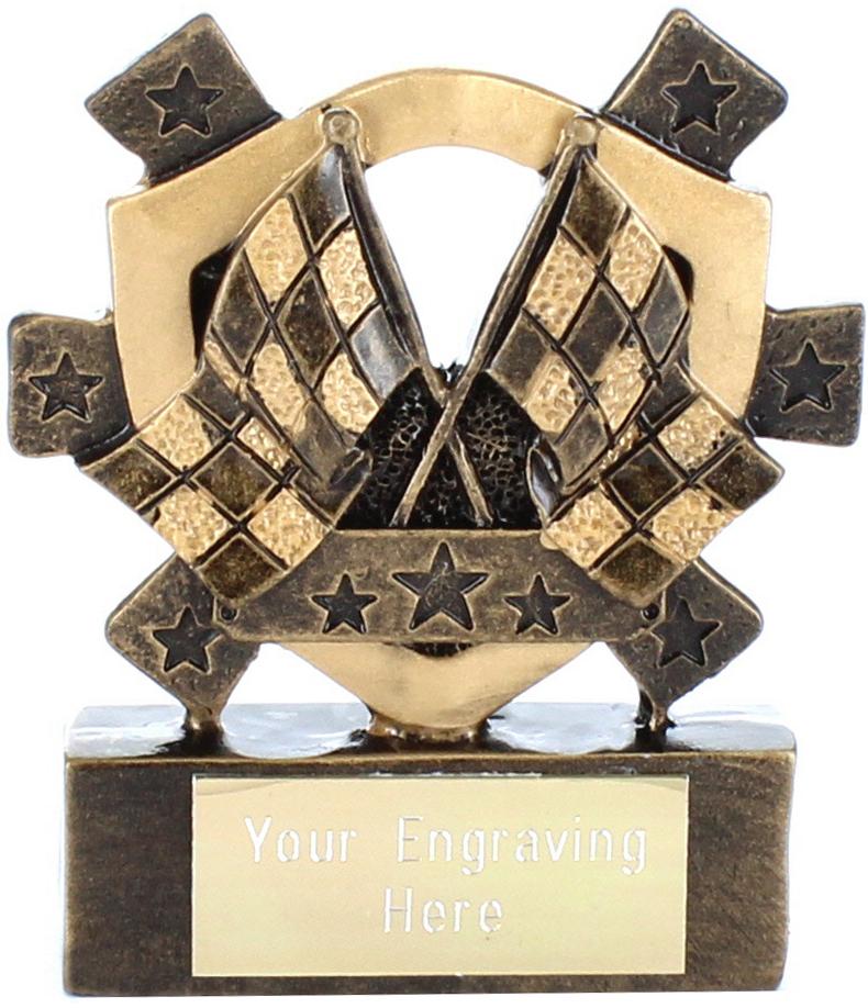 "Chequered Flag Mini Shield Award 8cm (3.25"")"