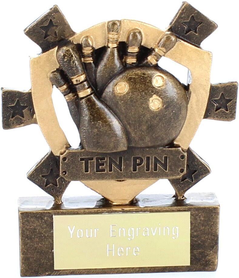 "Ten Pin Mini Shield Award 8cm (3.25"")"