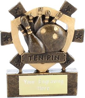 "Ten Pin Mini Shield Award 8cm (3.25"")"