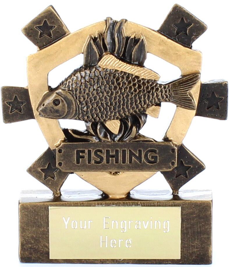 """Fishing Mini Shield Award 8cm (3.25"""")"""
