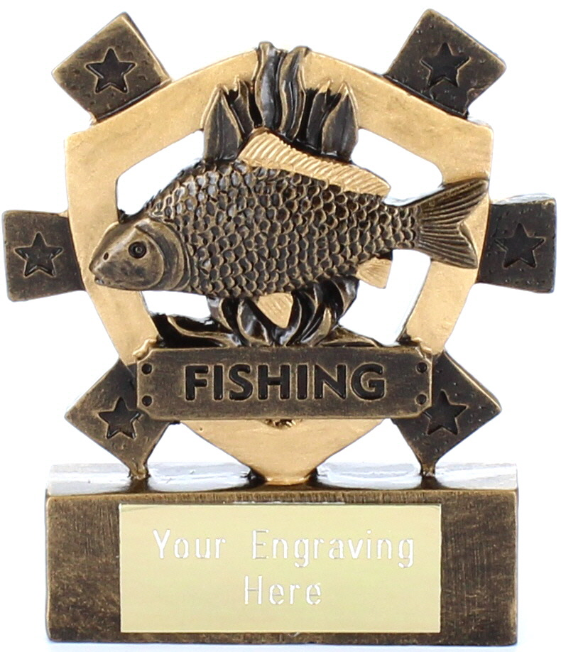 "Fishing Mini Shield Award 8cm (3.25"")"