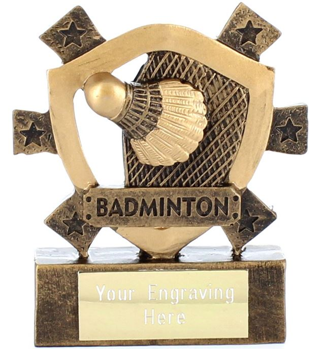 "Badminton Mini Shield Award 8cm (3.25"")"