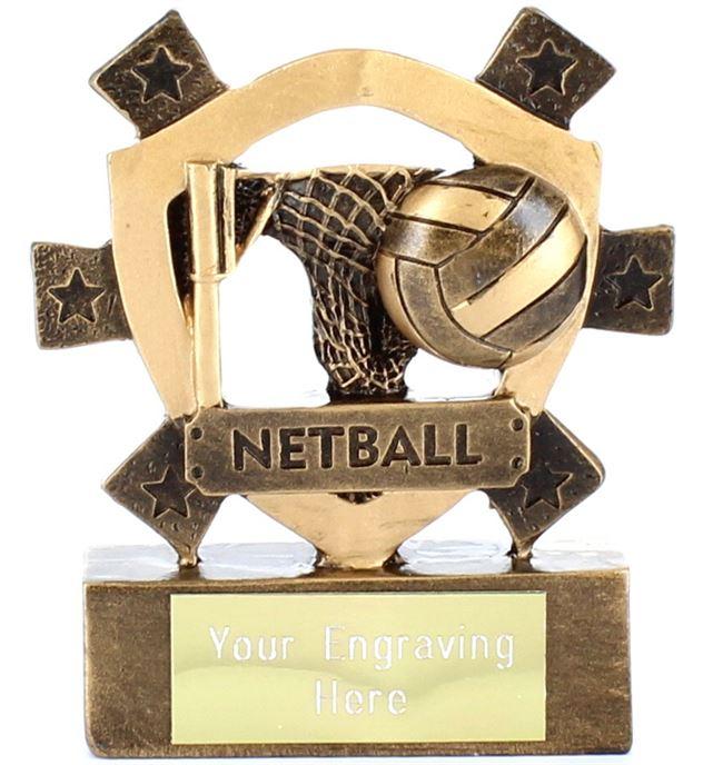 "Netball Mini Shield Award 8cm (3.25"")"