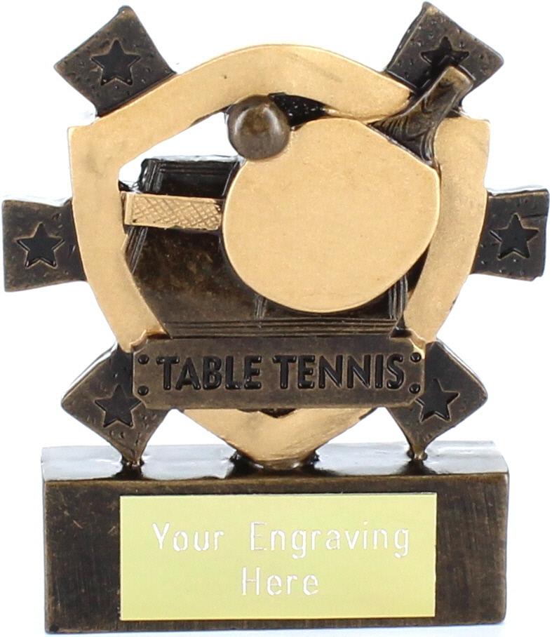 "Table Tennis Mini Shield Award 8cm (3.25"")"