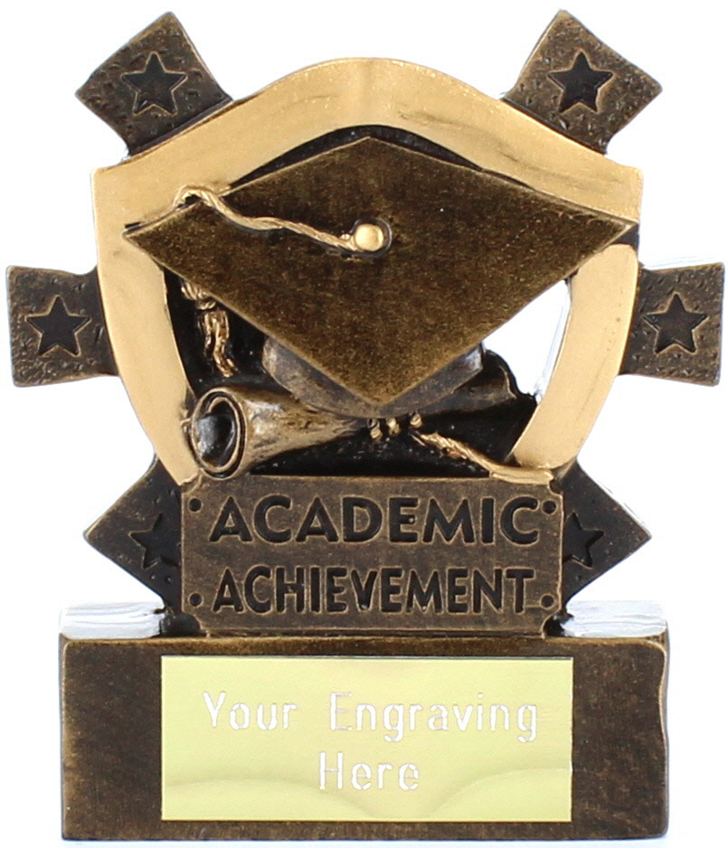 "Academic Achievement Mini Shield Award 8cm (3.25"")"