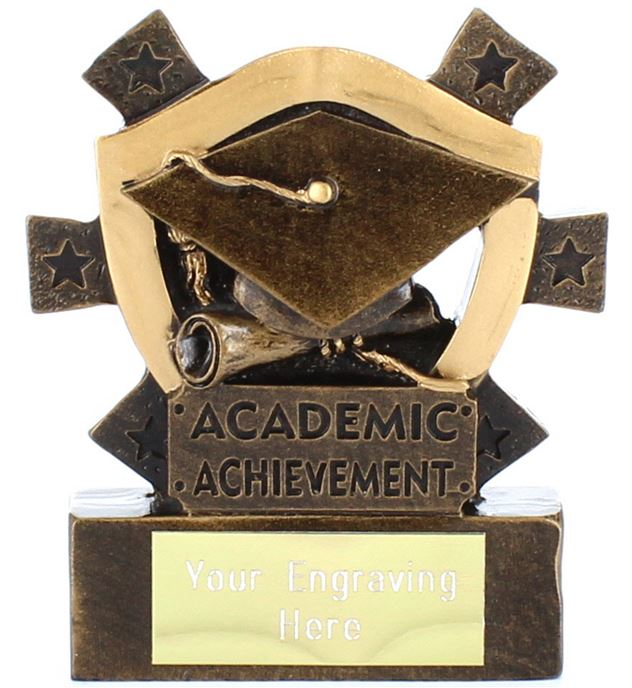 "Academic Achievement Mini Shield Award 8cm (3.25"")"
