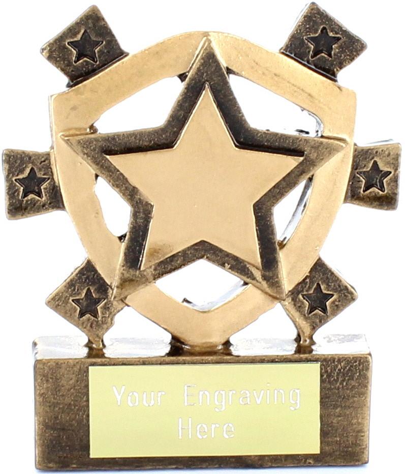 """Gold Star Mini Shield Award 8cm (3.25"""")"""