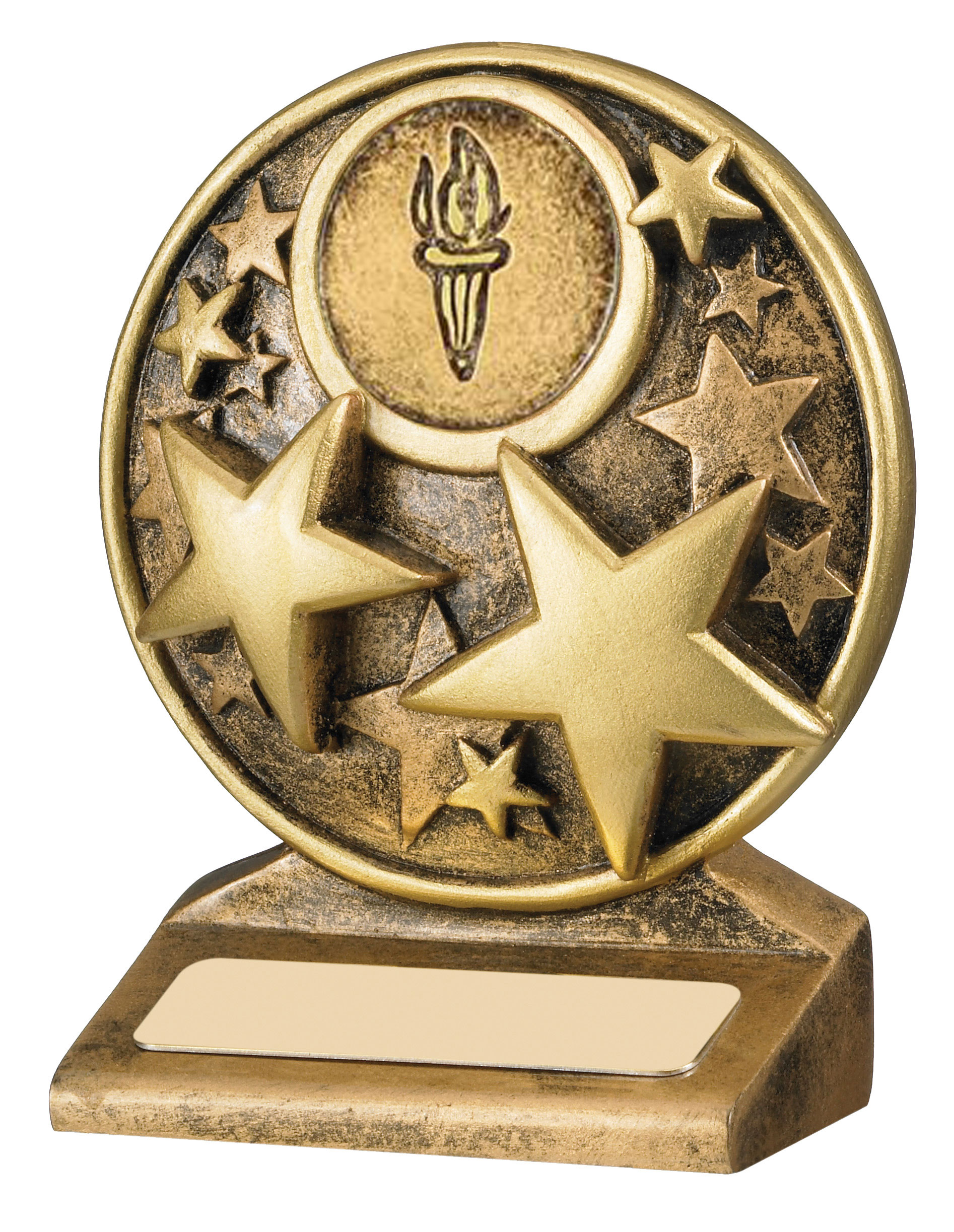 "Round Gold Resin Multi Star Trophy 9cm (3.5"")"
