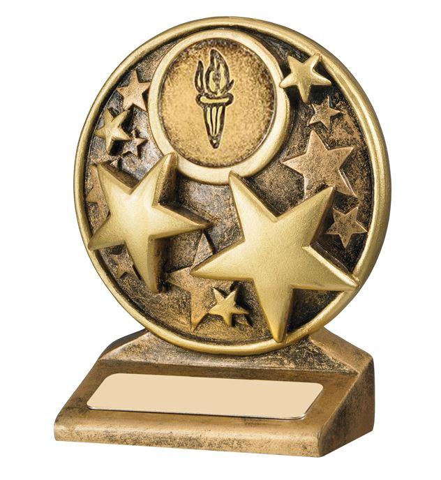 "Round Gold Resin Multi Star Trophy 9cm (3.5"")"