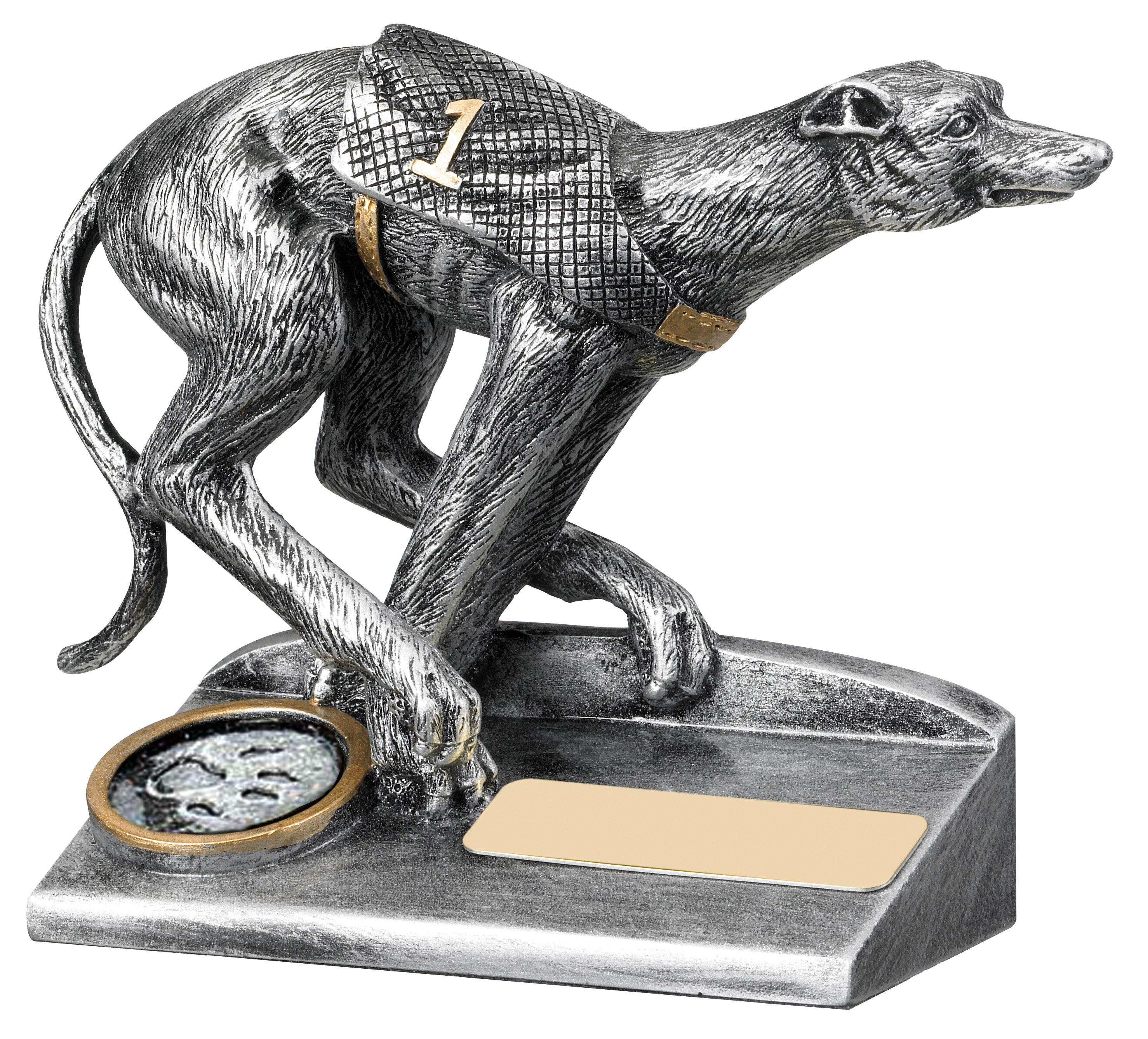 "Antique Silver Greyhound Racing Trophy 10cm (4"")"
