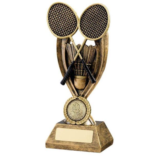 "Gold Resin Crossed Badminton Rackets Trophy 19cm (7.5"")"