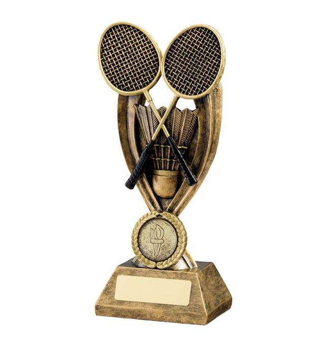 "Gold Resin Crossed Badminton Rackets Trophy 19cm (7.5"")"