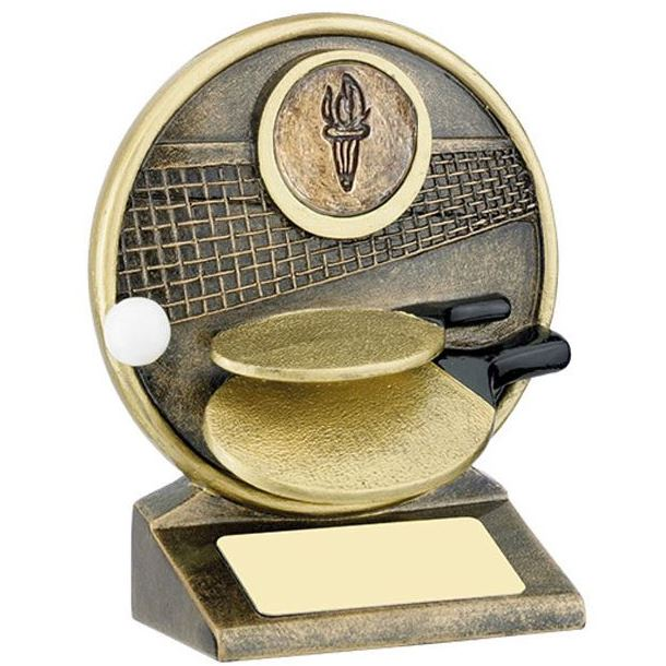 "Round Gold Resin Table Tennis Paddle Trophy 12.5cm (5"")"