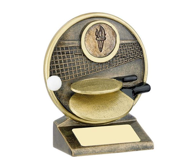 """Round Gold Resin Table Tennis Paddle Trophy 12.5cm (5"""")"""