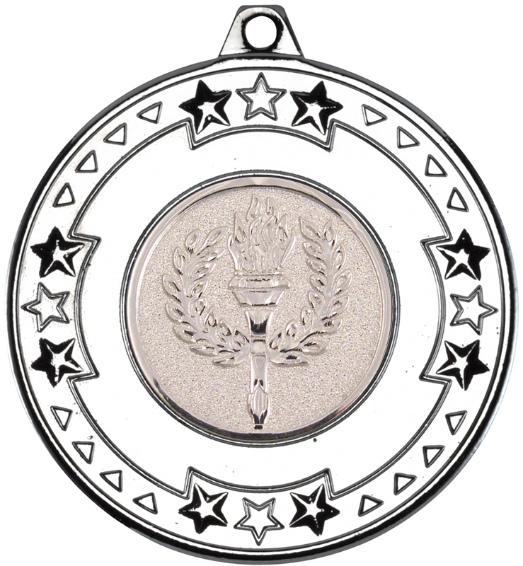 """Silver Star & Pattern Medal with 1"""" Achievement Flame Centre Disc 50mm (2"""")"""