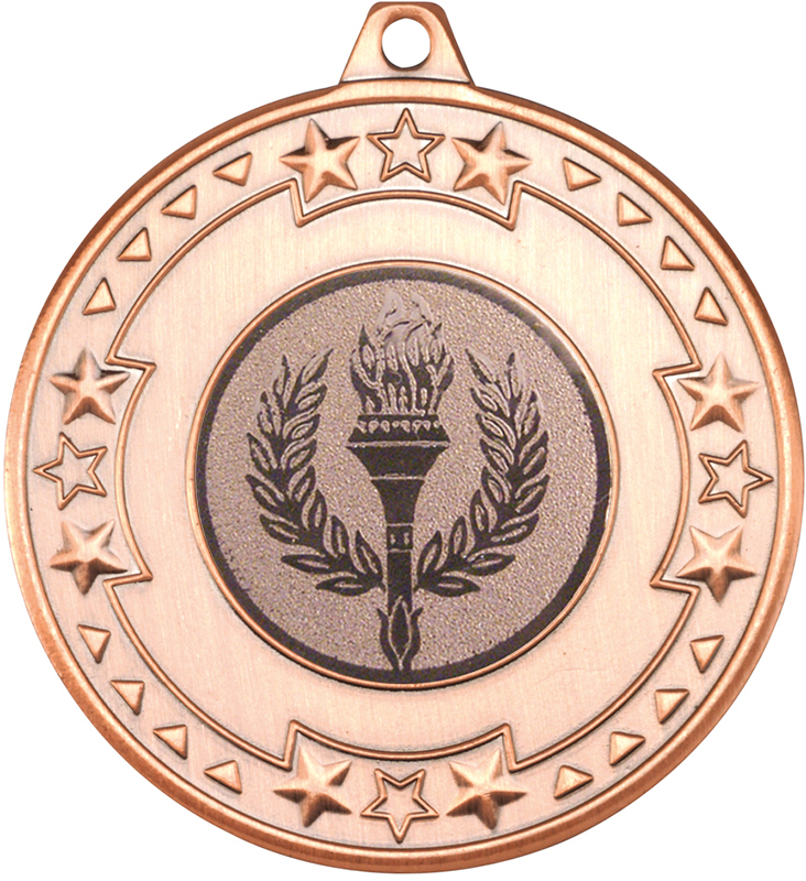 "Bronze Star & Pattern Medal with 1"" Achievement Flame Centre Disc 50mm (2"")"