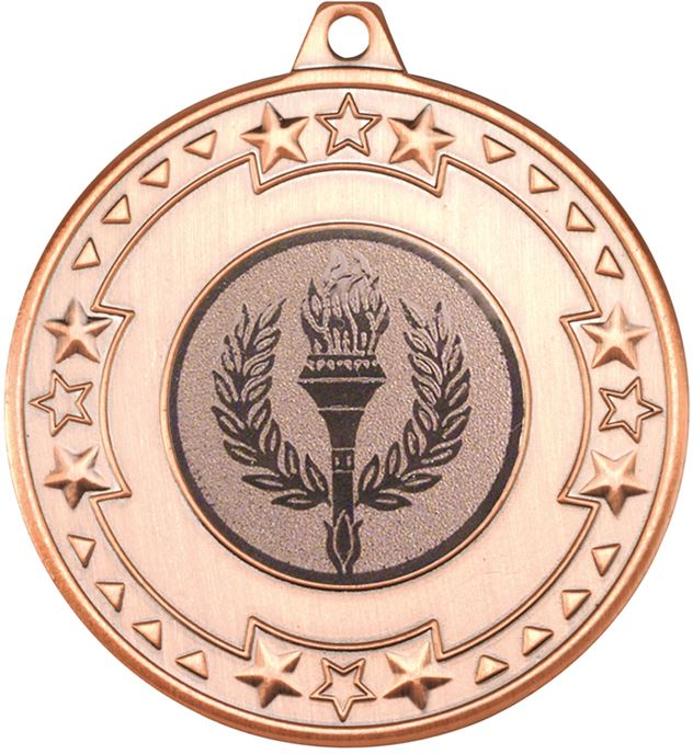 """Bronze Star & Pattern Medal with 1"""" Achievement Flame Centre Disc 50mm (2"""")"""