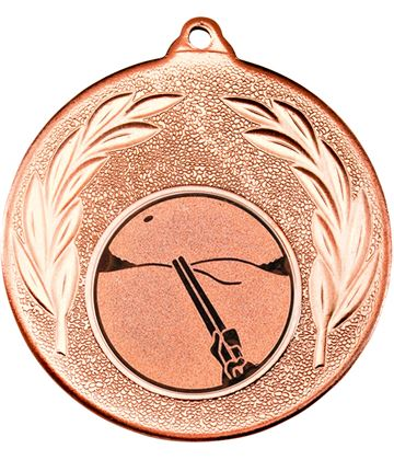 """Bronze Leaf Medal with 1"""" Clay Pigeon Shooting Centre Disc 50mm (2"""")"""
