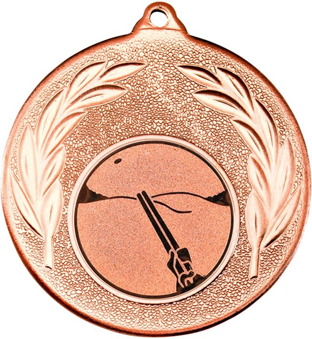 "Bronze Leaf Medal with 1"" Clay Pigeon Shooting Centre Disc 50mm (2"")"