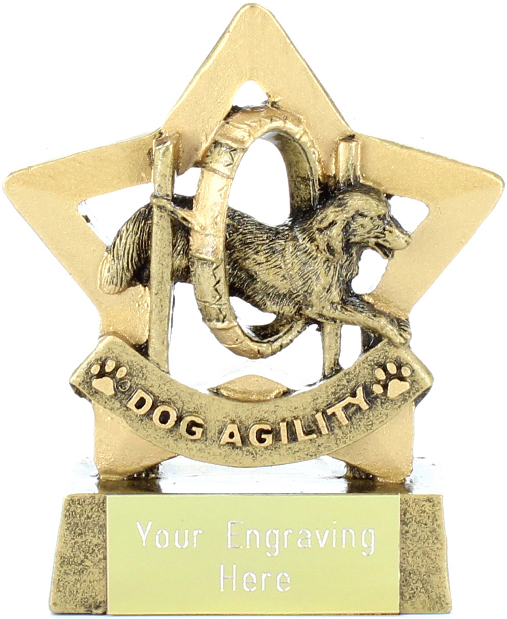 "Antique Gold Resin Mini Star Dog Agility Trophy 8.5cm (3.25"")"