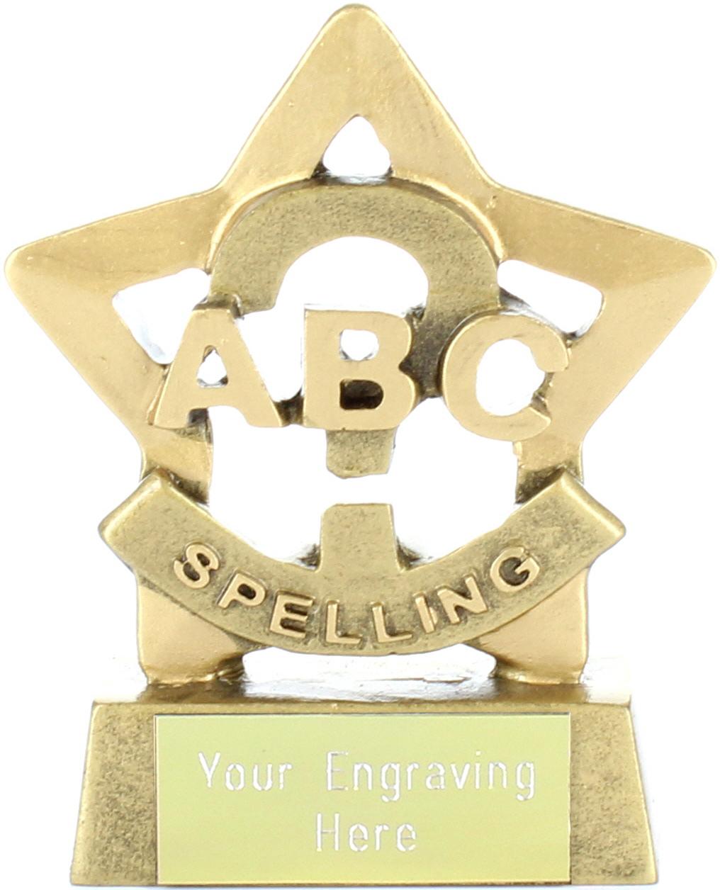 "Mini Stars Spelling Award Trophy 8.5cm (3.25"")"