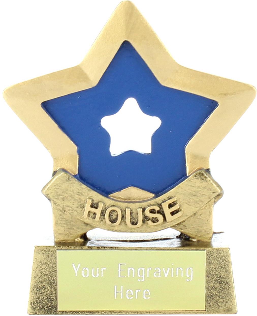 "Blue Mini Star Award House Colours 8.5cm (3.25"")"