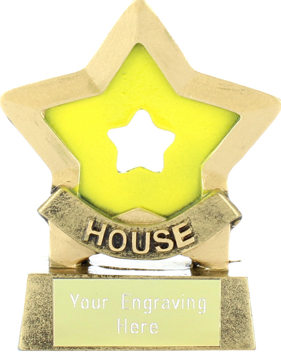 "Yellow Mini Star Award House Colours 8.5cm (3.25"")"