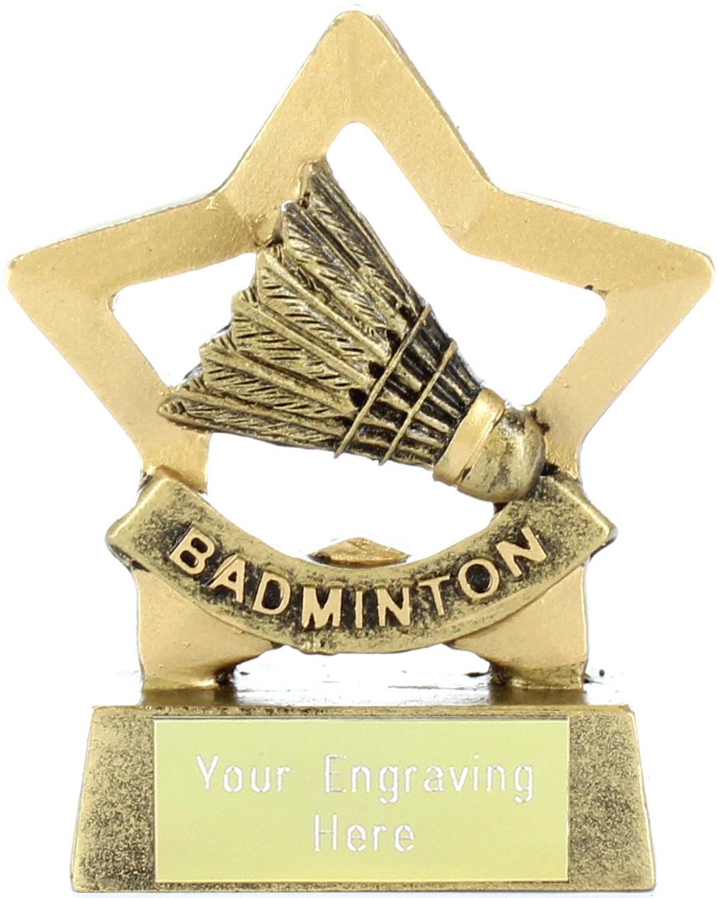 "Mini Stars Badminton Award Trophy 8.5cm (3.25"")"