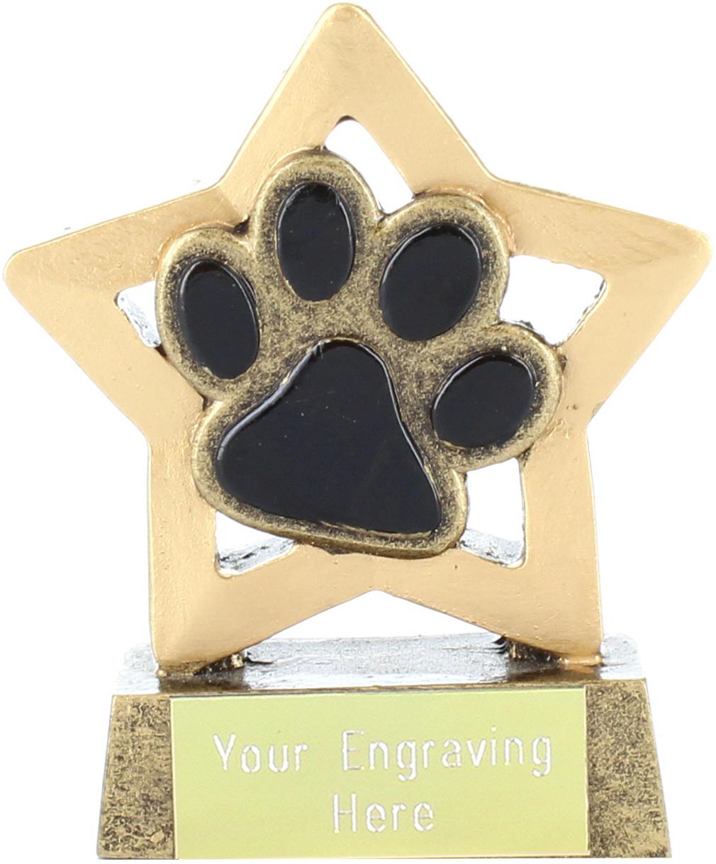 "Antique Gold Resin Mini Star Dog or Cat Paw Pet Trophy 8.5cm (3.25"")"