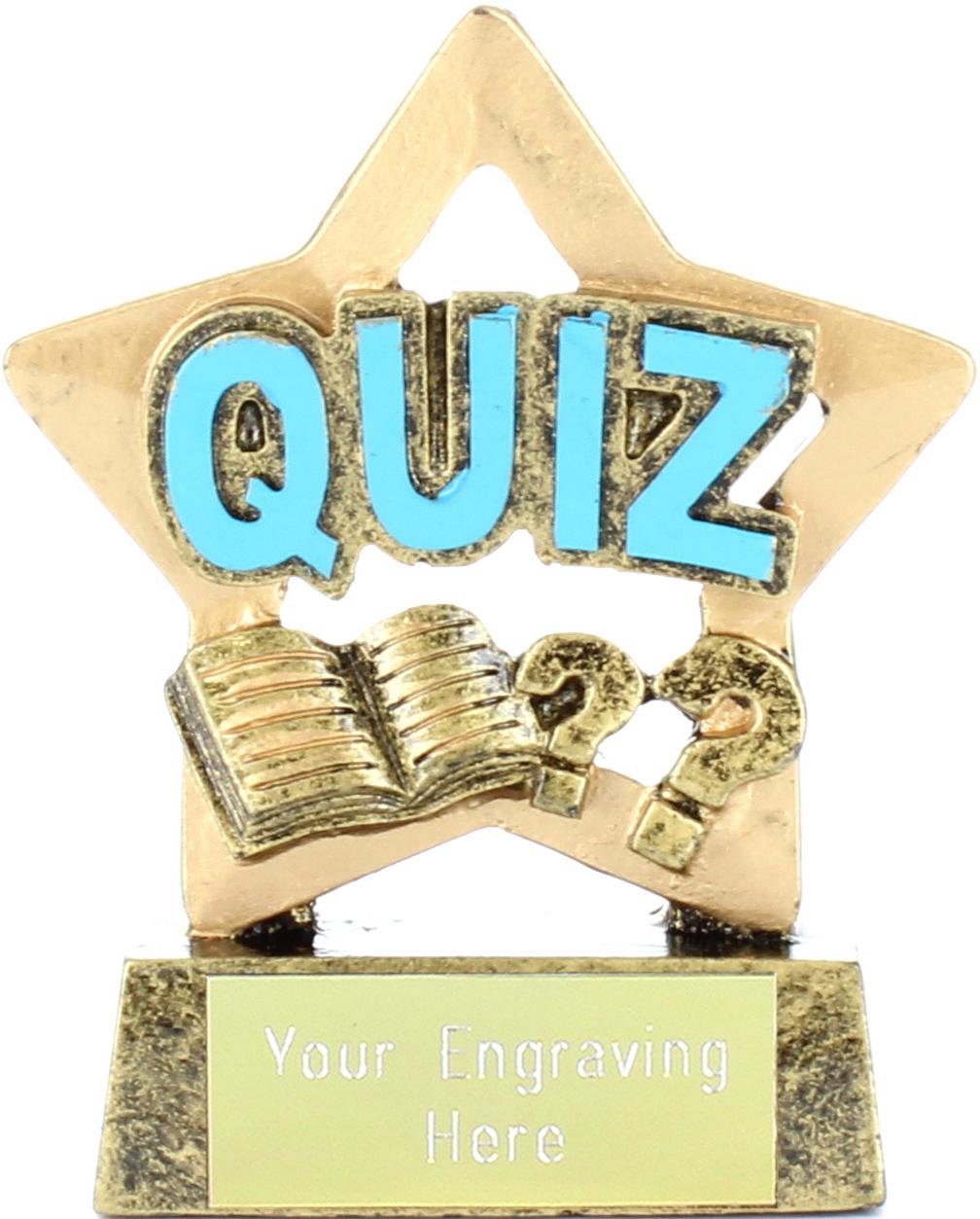 "Antique Gold Resin Mini Star Quiz Trophy 8.5cm (3.25"")"