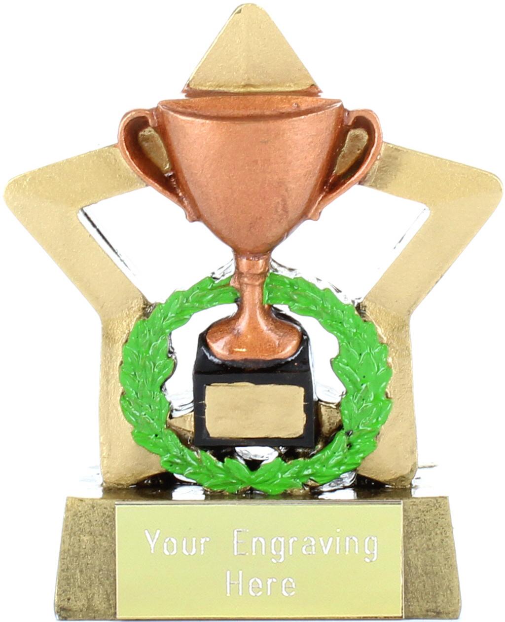 "Resin Mini Star Bronze Cup Trophy 8.5cm (3.25"")"