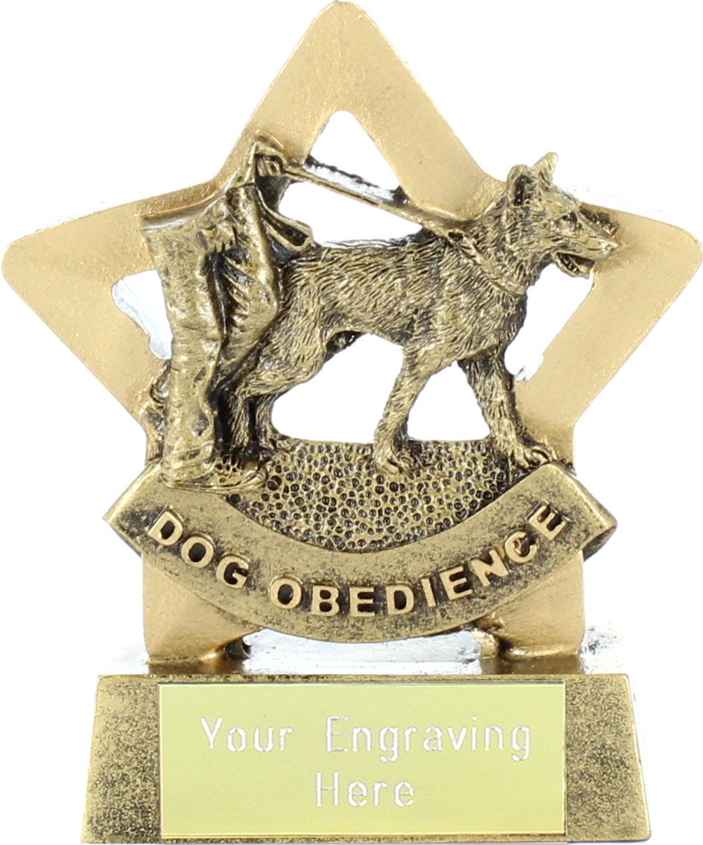 """Antique Gold Resin Mini Star Dog Obedience Trophy 8.5cm (3.25"""")"""