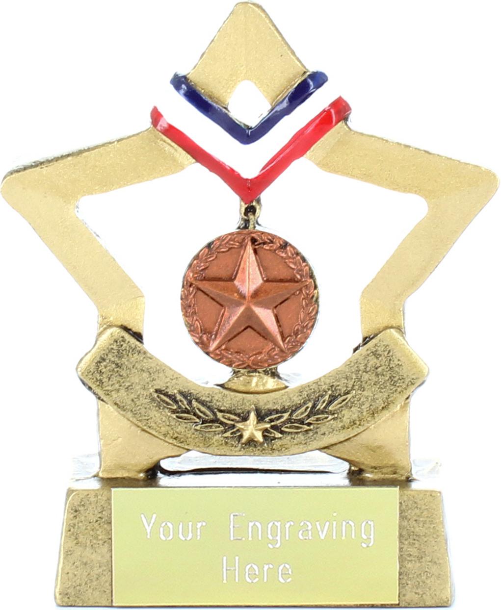 "Resin Mini Star Bronze Medal Trophy 8.5cm (3.25"")"