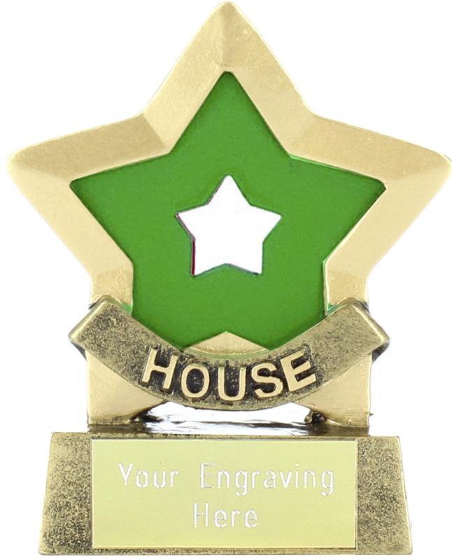 "Green Mini Star Award House Colours 8.5cm (3.25"")"