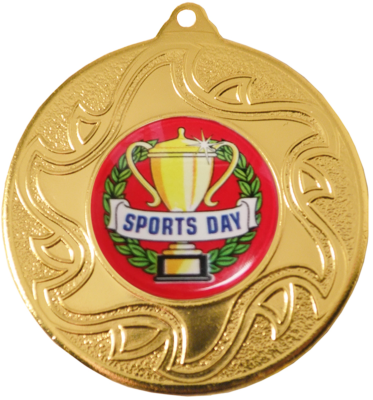 "Sports Day Gold Sunburst Star Patterned Medal 50mm (2"")"