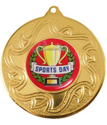 "Sports Day Gold Sunburst Star Patterned Medal 50mm (2"")"
