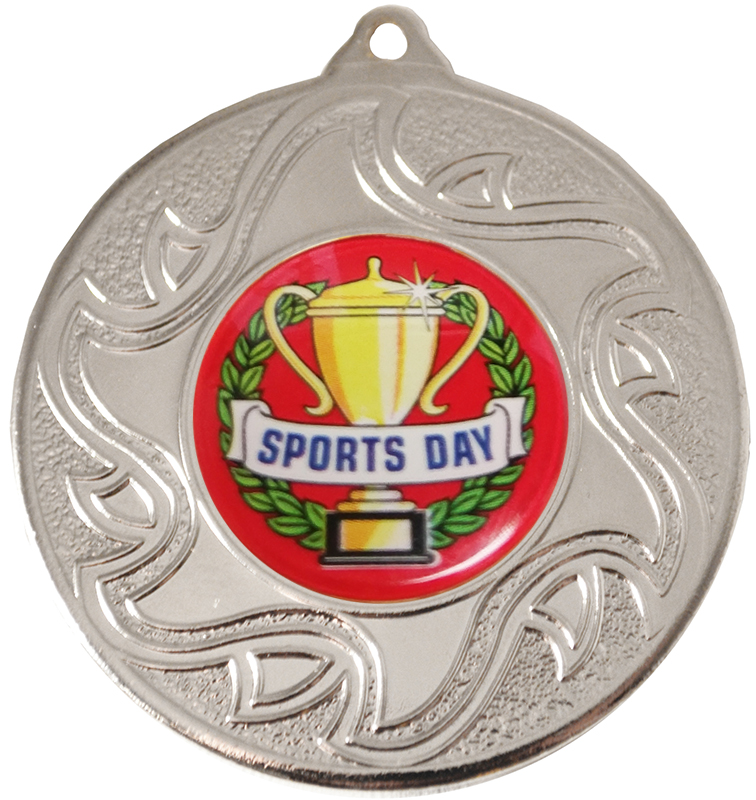 "Sports Day Silver Sunburst Star Patterned Medal 50mm (2"")"