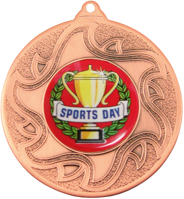 "Sports Day Bronze Sunburst Star Patterned Medal 50mm (2"")"