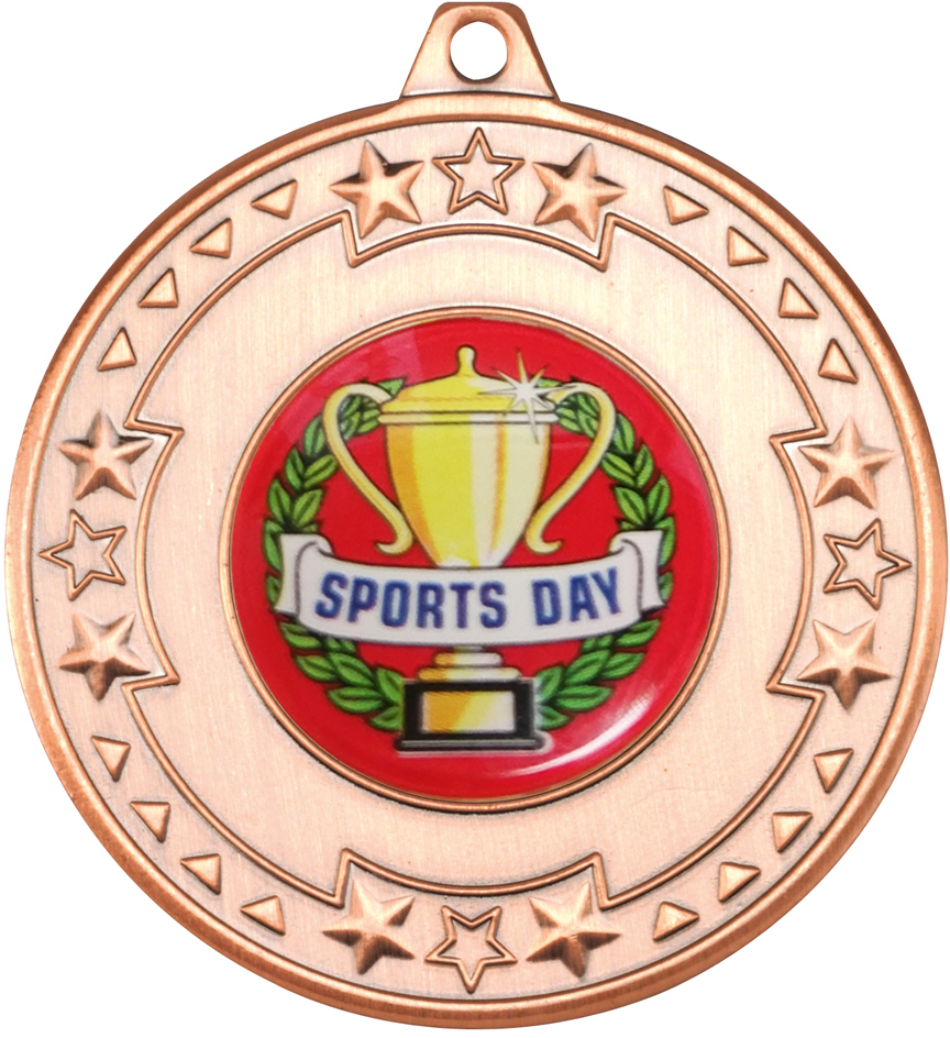 "Bronze Star & Pattern Medal with Sports Day Centre Disc 50mm (2"")"