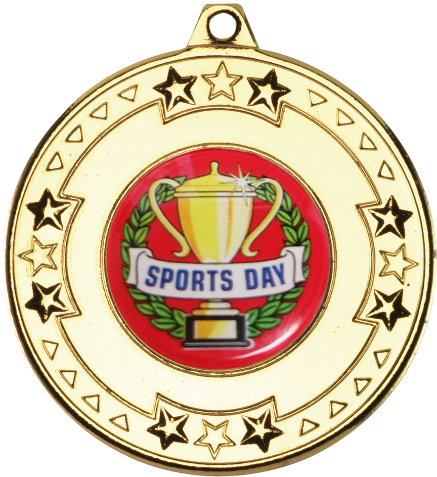 "Gold Star & Pattern Medal with Sports Day Centre Disc 50mm (2"")"