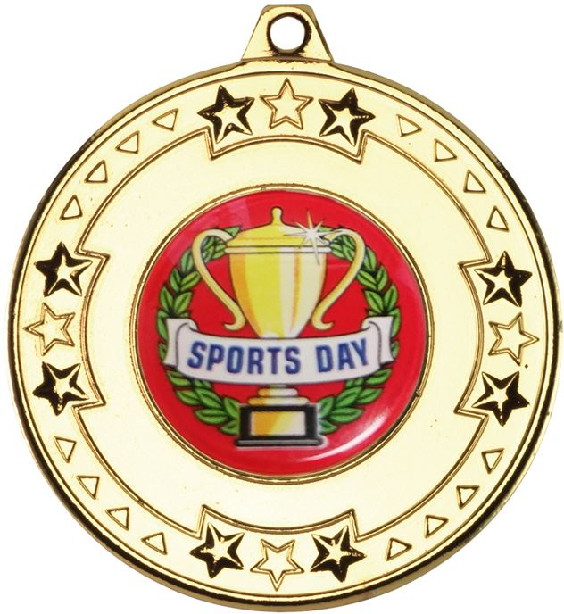 """Gold Star & Pattern Medal with Sports Day Centre Disc 50mm (2"""")"""