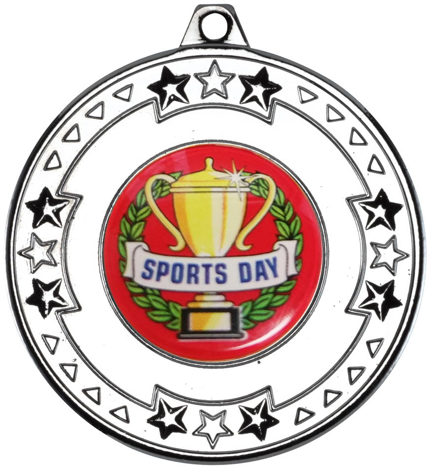 "Silver Star & Pattern Medal with Sports Day Centre Disc 50mm (2"")"