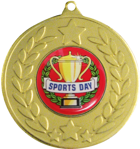 "Gold Laurel Wreath Sports Day Medal 50mm (2"")"